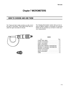 Chapter 7 MICROMETERS