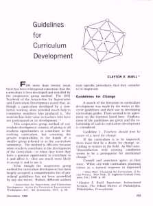 Guidelines for Curriculum Development