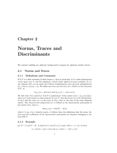Chapter 2 Norms, Traces and Discriminants