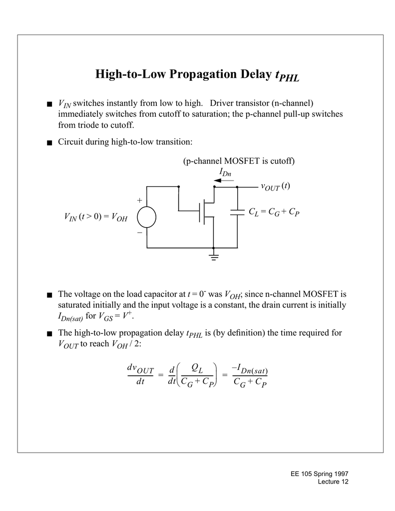High-to-Low Propagation Delay t