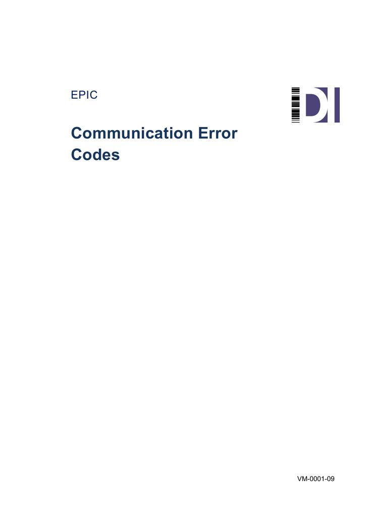 Communication Error Codes