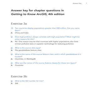 Answer key for chapter questions in Getting to Know ArcGIS, fourth