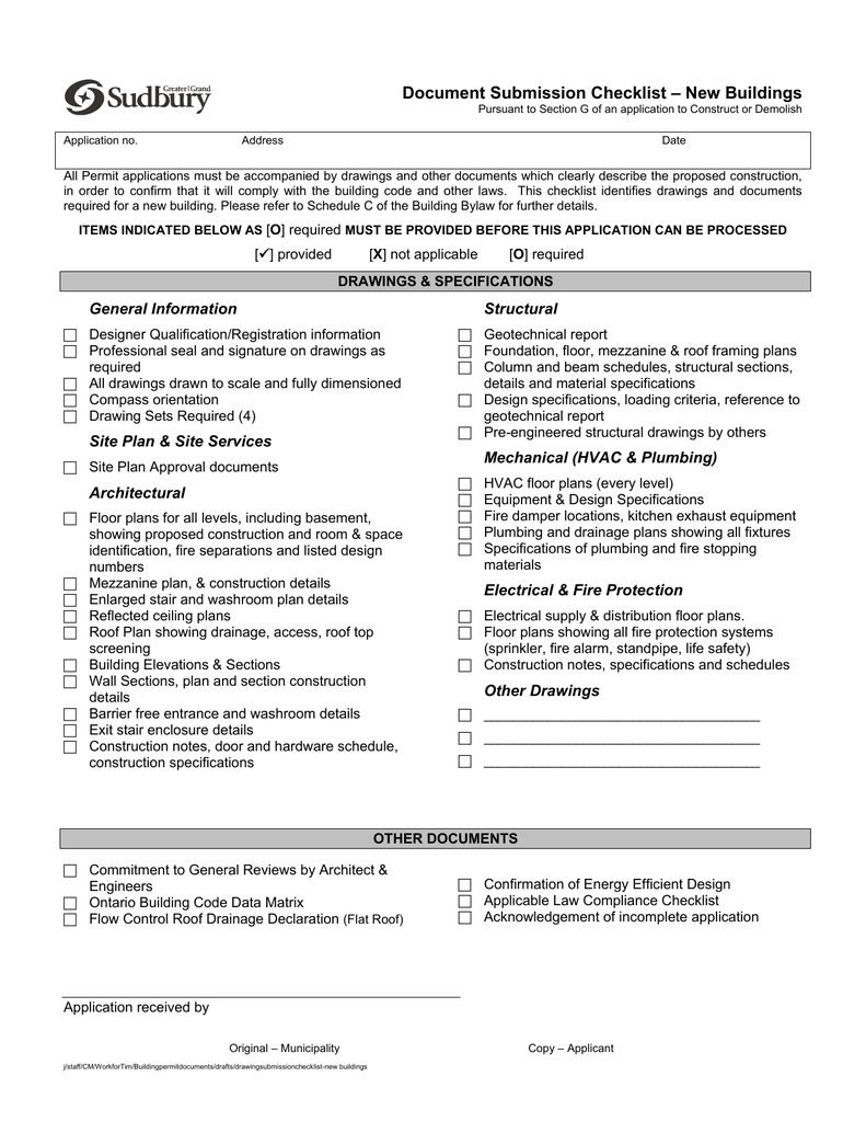 Document Drawing Submission Checklist New Hvac