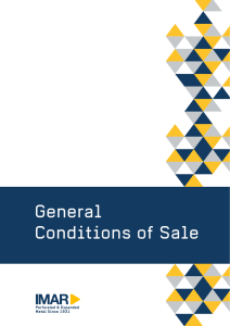 General Conditions of Sale IMAR