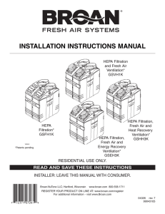 Broan Fresh Air System Installation Manual (04326 rev.7):Grand