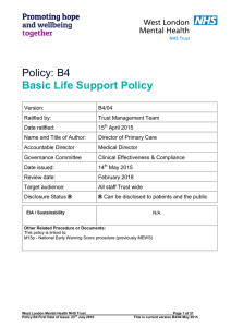 Policy: B4 Basic Life Support Policy