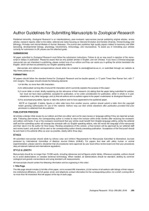 Author Guidelines for Submitting Manuscripts to Zoological Research