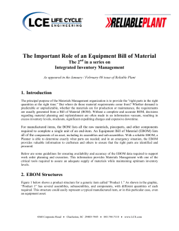 The Important Role of an Equipment Bill of Material