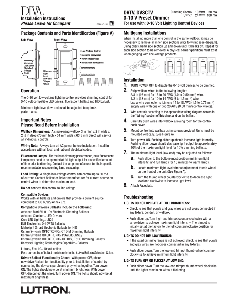 lutron diva dvtv wh installation instructions