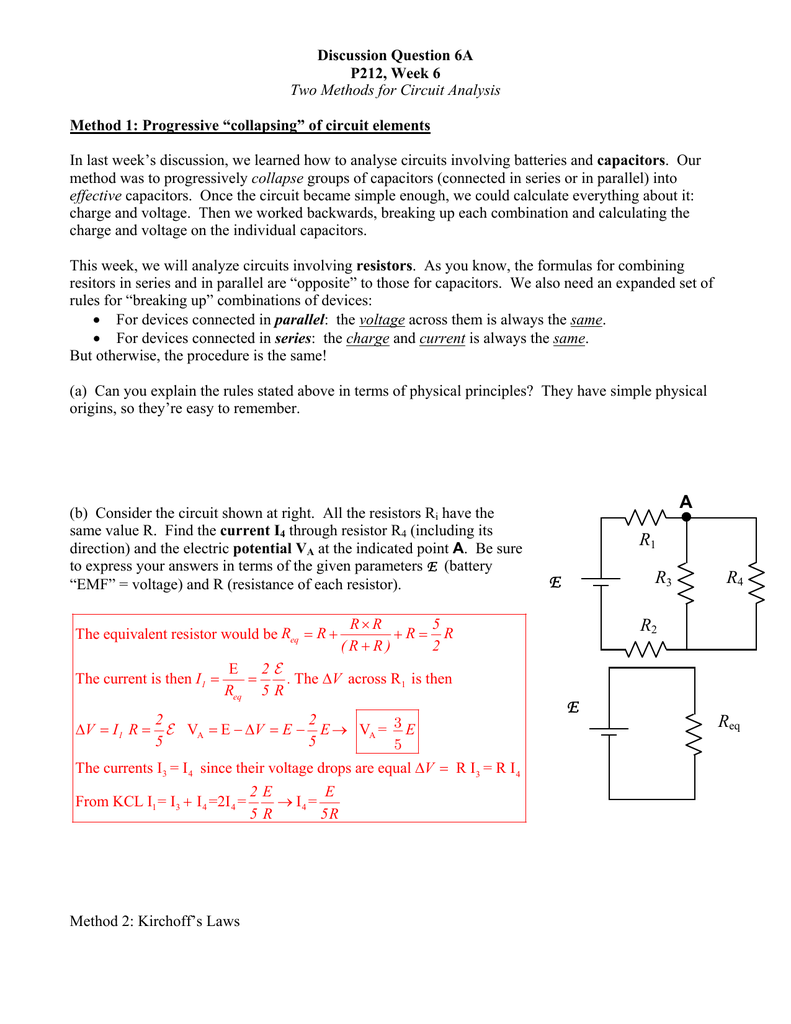 Discussion Question 6a Resistor Formula Above We Can Calculate The Total Circuit Resistance