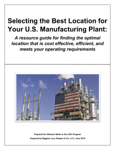 Selecting the Best Location for Your U.S. Manufacturing Plant: