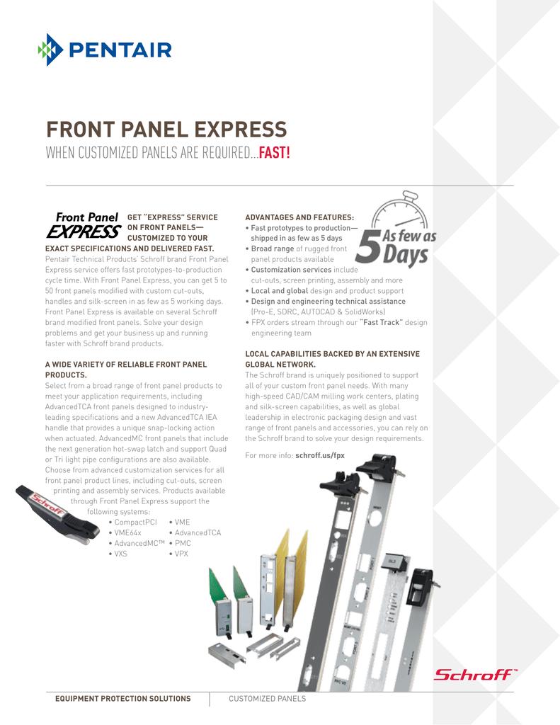 front panel express - PentAirProtect com