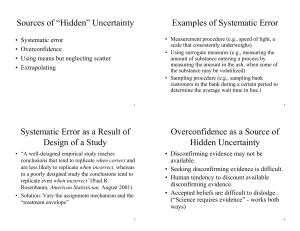 "Sources of ""Hidden"" Uncertainty Examples of Systematic Error"