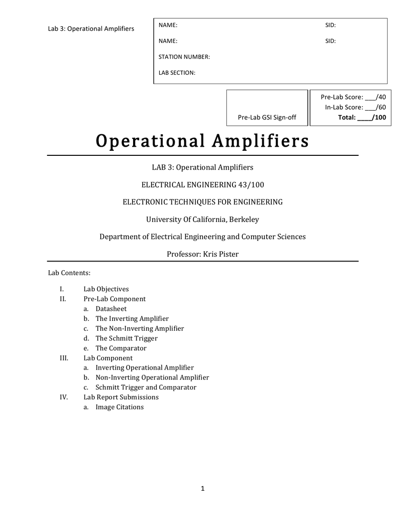 Lab 3 Operational Amplifiers 213 The Amplifier Electronics