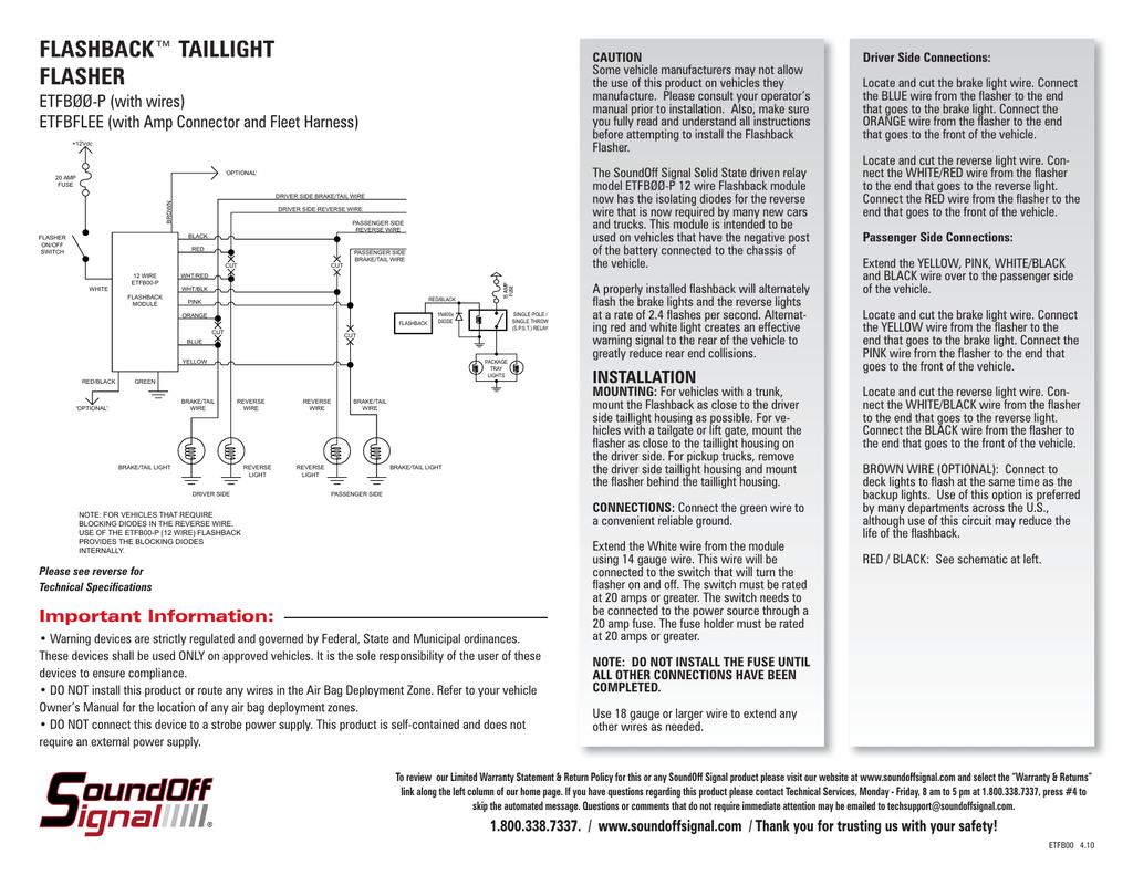 Flashback Wiring Diagram Detailed Diagrams 14 Gauge Taillight Flasher Thunderbolt
