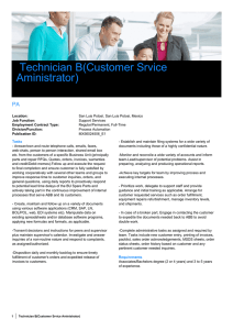 Technician B(Customer Srvice Aministrator)