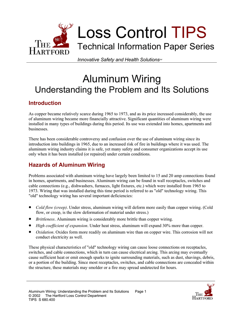Loss Control Tips Aluminum Or Copper Wiring