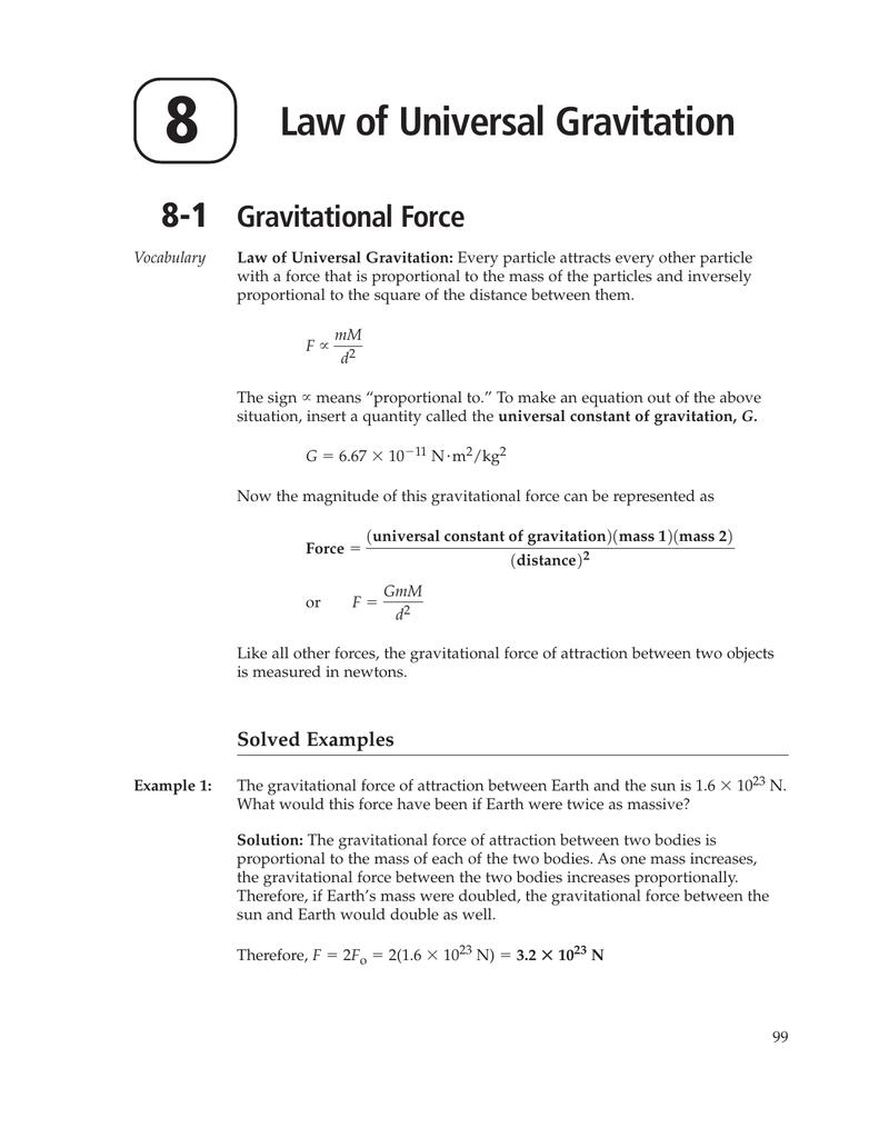8 Law of Universal Gravitation