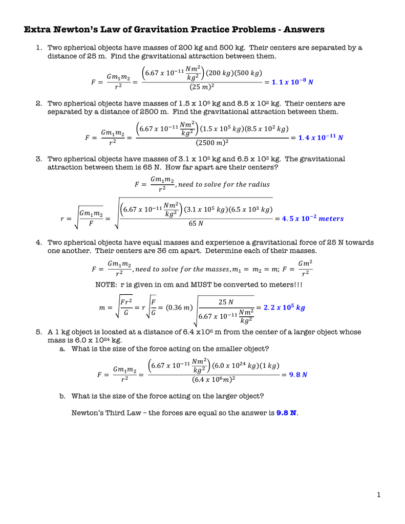 Extra Practice - Newtons Law of Universal Gravitation Answers
