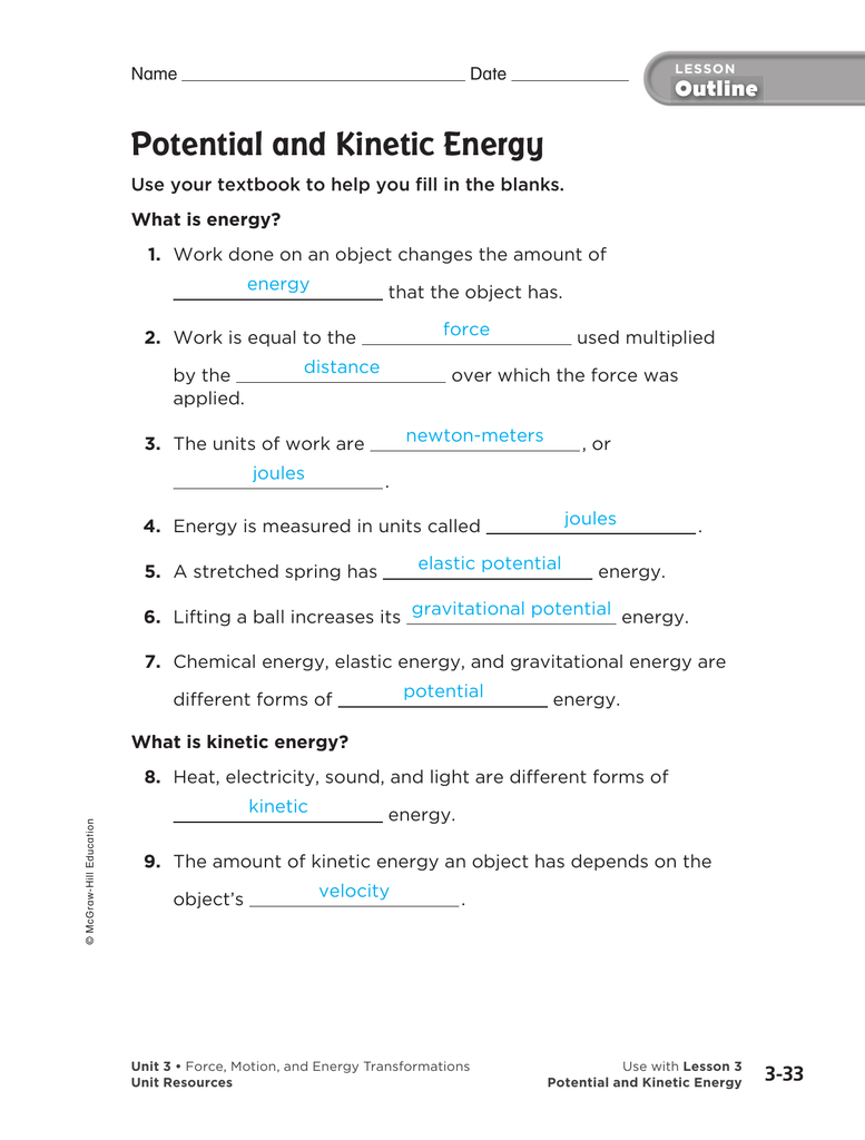Energy Worksheets Pdf worksheets on energy pyramids pdf and wind – Kinetic Energy Worksheet