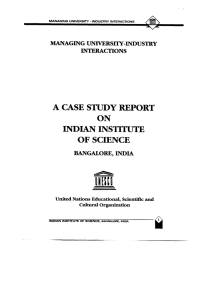 A Case study report on Indian Institute of Science, Bangalore, India