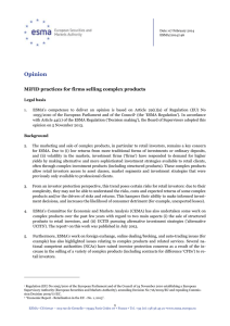 ESMA Opinion on MiFID practices for firms selling complex products