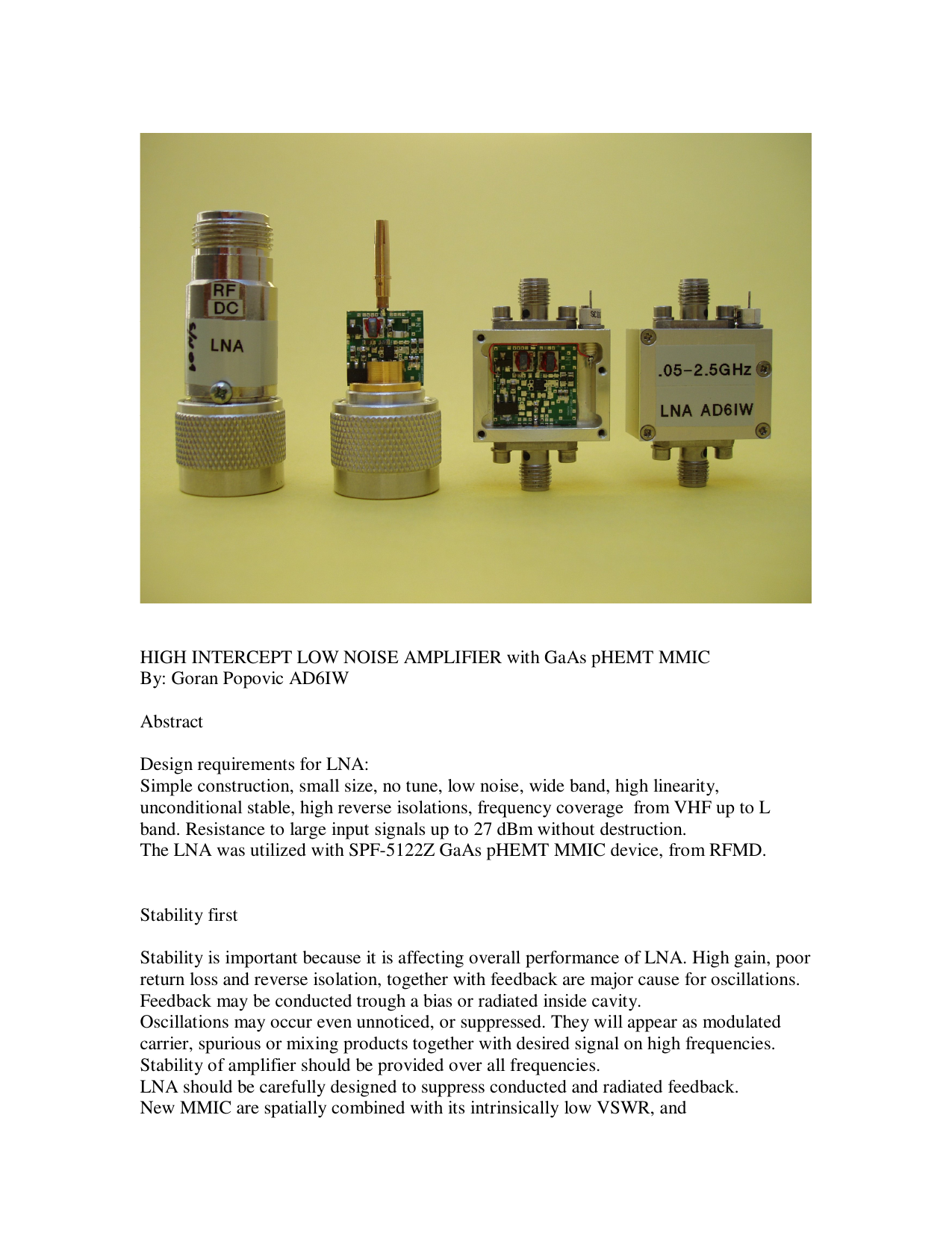 AD6IW HEMT MMIC Wideband LNA article and kit info