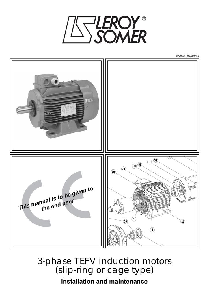 leroy somer 3 phase tefv induction motors installation Leland Faraday Motor Wiring Diagram