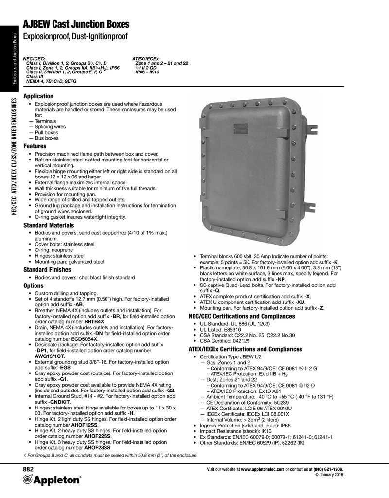 AJBEW Cast Junction Boxes Catalog Pages