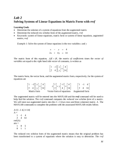 Lab 2 Solving Systems of Linear Equations in Matrix Form with rref