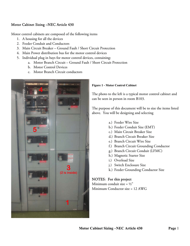 Motor Cabinet Sizing –NEC Article 430 Motor control cabinets are