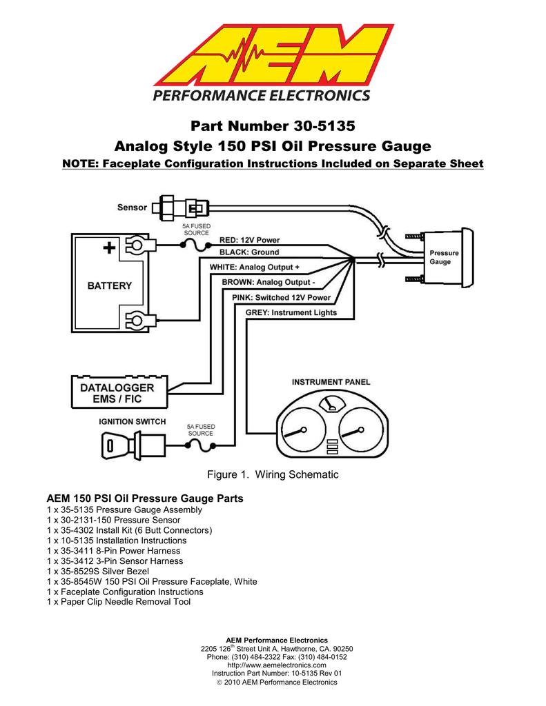Aem Oil Pressure Sensor Wiring Wiring Diagram Library