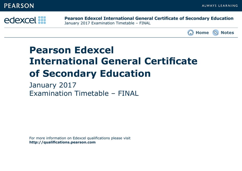 Pearson Edexcel   International GCSE Timetable   2017 January