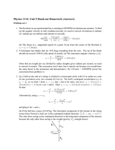 Physics 1114: Unit 5 Hand-out Homework (Answers)