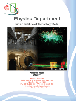 Academic report of Physics Department for the duration 2005-2011