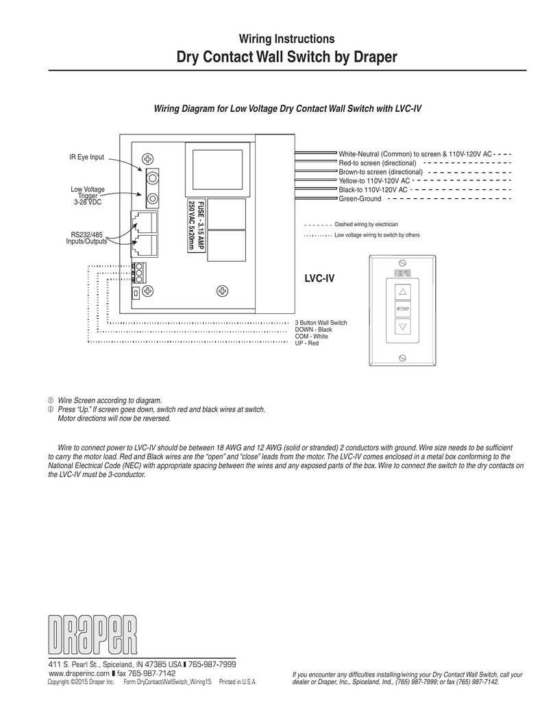 wiring instructions dry contact wall switch by draper rh studylib net