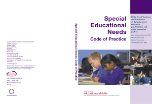 Special Educational Needs Code of Practice