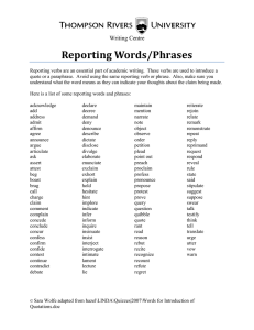 Reporting Words/Phrases
