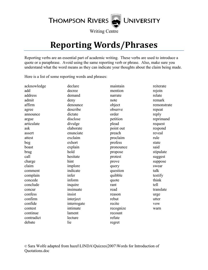 reporting verb simple present