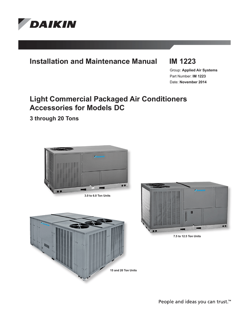 Daikin Models DC Light Commercial Accessories on
