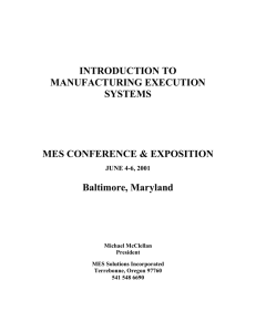 INTRODUCTION TO MANUFACTURING EXECUTION SYSTEMS