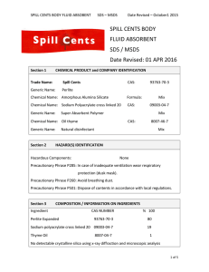 SPILL CENTS BODY FLUID ABSORBENT SDS / MSDS Date