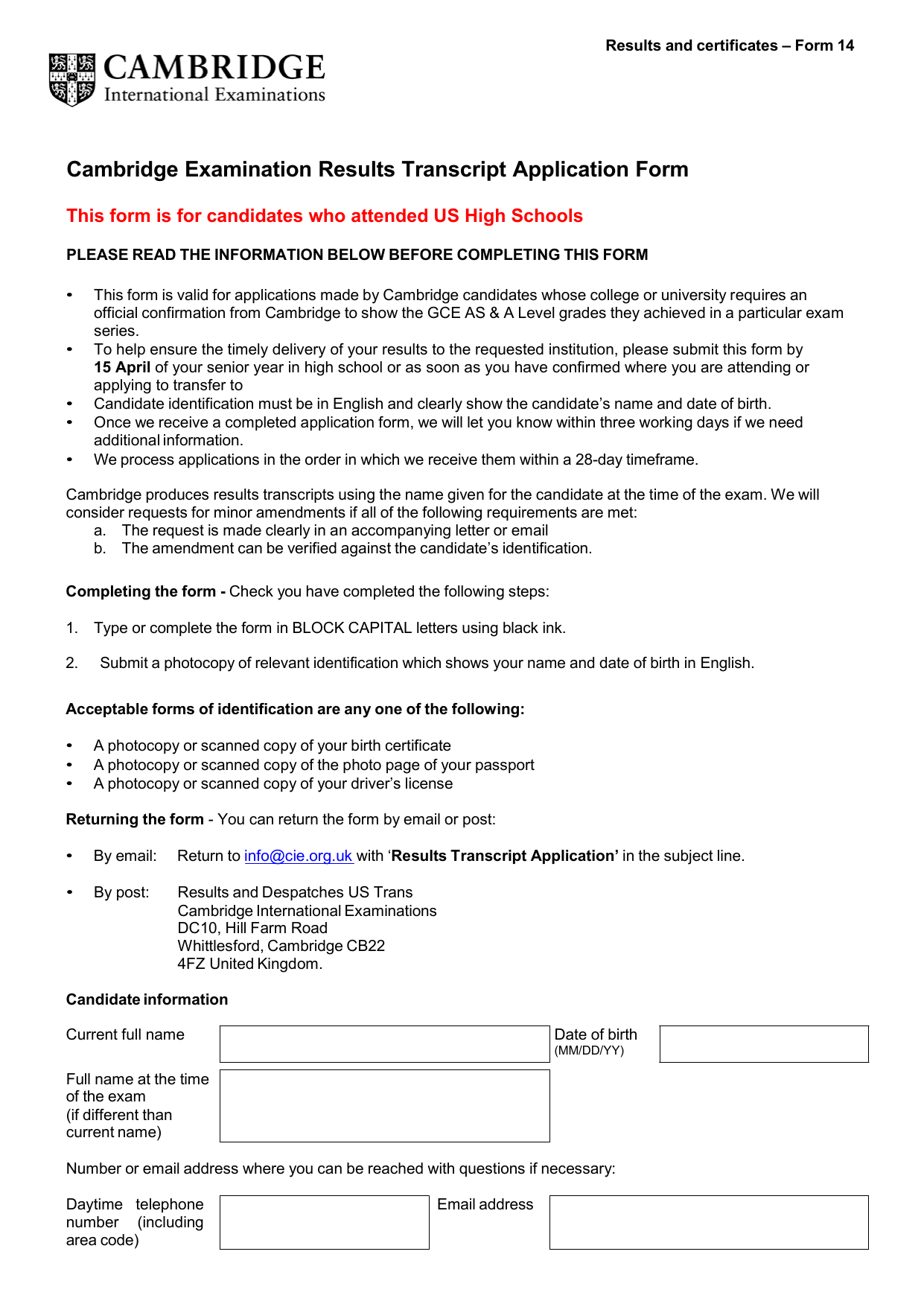 cambridge examination results transcript application form