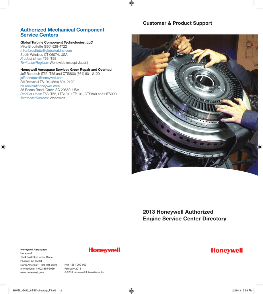 2013 Honeywell Authorized Engine Service Center Directory
