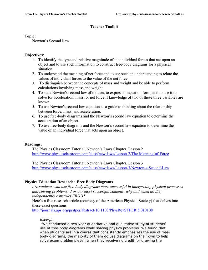 teacher toolkit topic newton`s second law objectives 1 to