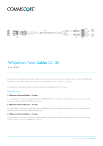 MPOptimate Patch Cables LC - SC - Spec Sheet
