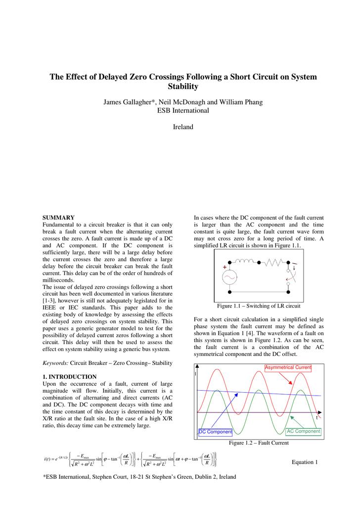 the effect of delayed zero crossings following a short circuit on rh studylib net