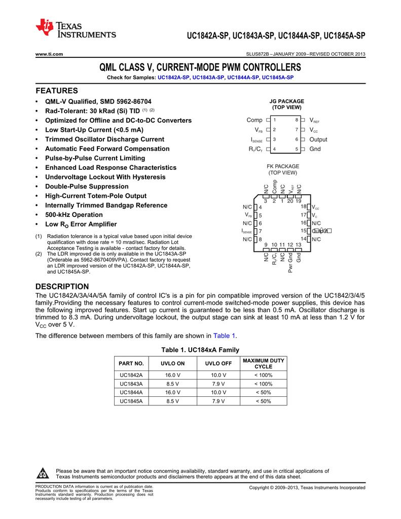 UC1845A-SP QML Class V, Current-Mode PWM