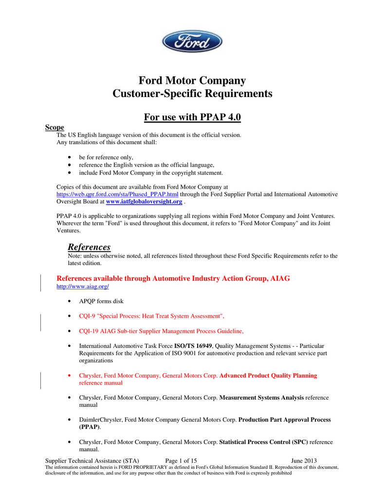 business analysis ford motor company
