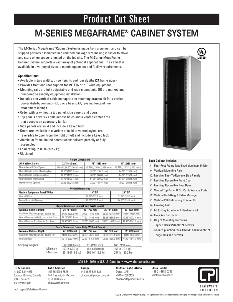 m-series megaframe cabinet cut sheet